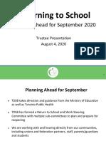 TDSB plan for returning to school in September 2020