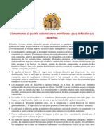 Llamamiento al pueblo colombiano
