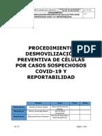 Procedimiento Desmovilización Preventiva de Células por Casos Sospechosos Covid-19 Rev.01