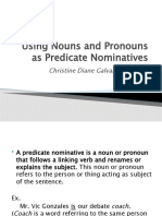 Using Nouns and Pronouns as Predicate Nominatives