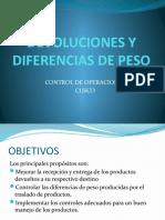 DEVOLUCIONES Y DIFERENCIAS DE PESO
