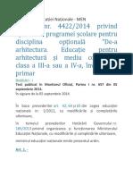 Programa Optional De-a Arhitectura - ciclul primar