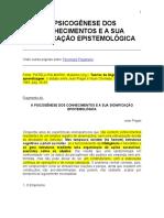 A PSICOGÊNESE DOS CONHECIMENTOS E A SUA SIGNIFICAÇÃO EPISTEMOLÓGICA piaget.doc