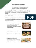 Tipos de conservación de alimentos
