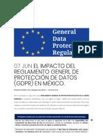 EL IMPACTO DEL REGLAMENTO GENERL DE PROTECCIÓN DE DATOS (GDPR) EN MÉXICO. - Calderon & De La Sierra