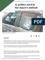 Family feud, politics eyed in Lanao del Sur mayor's ambush - SUNSTAR...