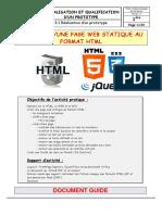 3. RÉALISATION ET QUALIFICATION D UN PROTOTYPE 3.1 Réalisation d un prototype CRÉATION D UNE PAGE WEB STATIQUE AU FORMAT HTML