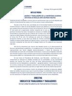 20200803 Nota de Prensa Sindicato.