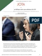 A coerência no diálogo entre precedentes do STF - JOTA Info