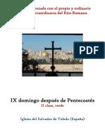 IX Domingo Despues de Pentecostes. Propio y Ordinario de la santa misa