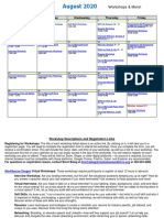 August 2020 Virtual Workshop Calendar