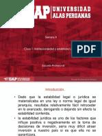 ayuda 4 Clase 1. Institucionalidad y estabilidad jurídica Clase 2. Garantías y seguridades contenidas en los contratos ley art. 62º de la Constitución.