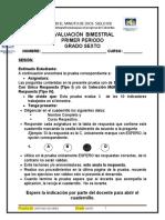 Evaluación Bimestral Sociales 6º 1p