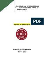 Protocolo de Bioseguridad Carpinteria