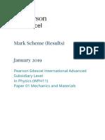 Edexcel IAL Physics Unit 1 - January 2019 - Mark Scheme