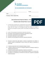 Lista de Exercícios - Projeto de Fábrica - 3ª Unidade