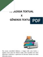 Gêneros Textuais x Tipologia textua