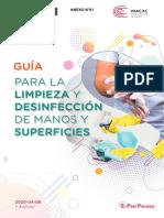 ANEXO 01. Guía para la limpieza y desinfección de manos y superficies, 1ª Edición