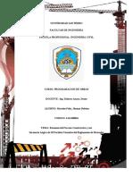 RESUMEN DEL PROCESO CONSTRUCTIVO Y SU SECUENCIA LÓGICA DE 20 PARTIDAS TOMADAS DEL REGLAMENTO DE METRADOS
