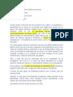 Informe  de monitores de musica año escolar 2019-2020 Marcelino Lorenzo Abad
