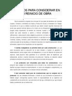ASPECTOS PARA CONSIDERAR EN UN REINICIO DE OBRA