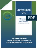 INDICADORES SOCIALES Y ECONÓMICOS DE ECUADOR