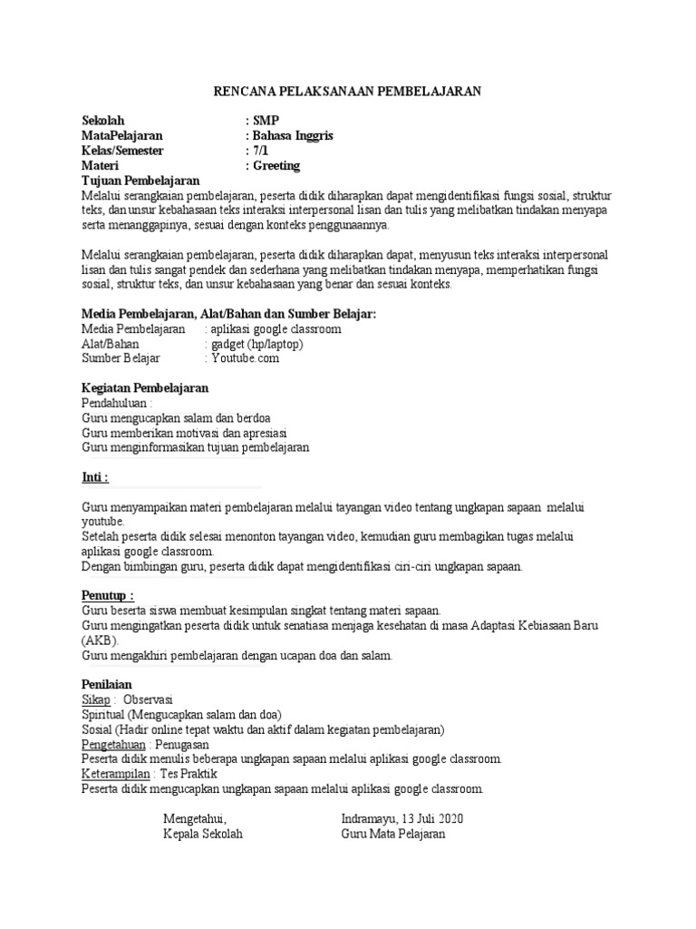 Rpp Daring Bahasa Inggris Kelas 7 Semester 1