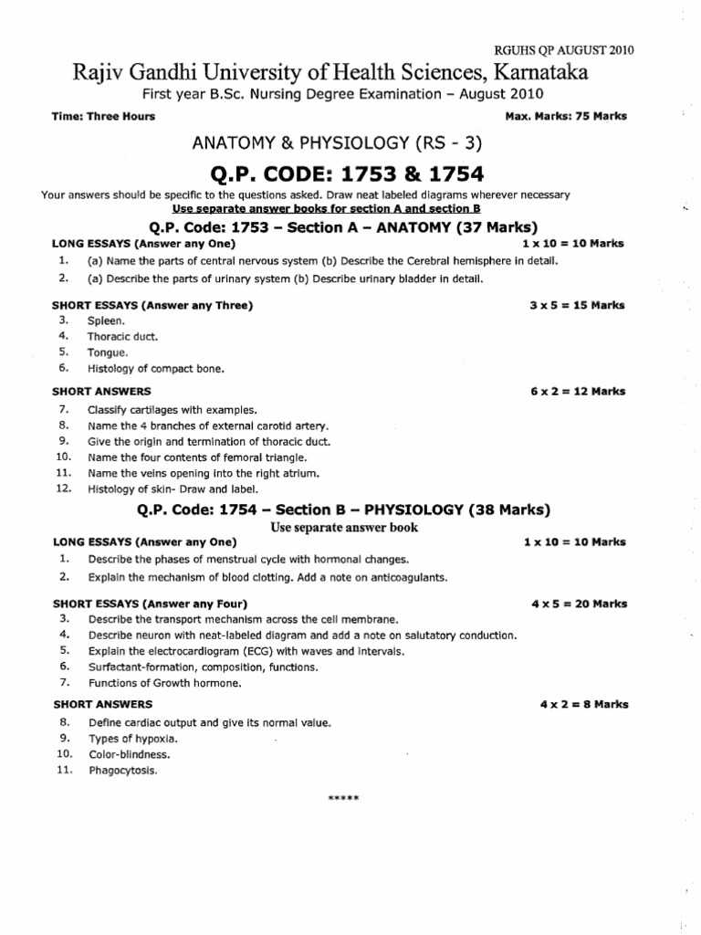 First Year B Nursing Question Paper2010 Nutrition Infection
