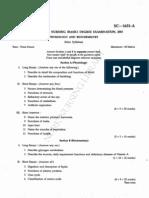 First year B.Sc. Nursing Question Paper  2001