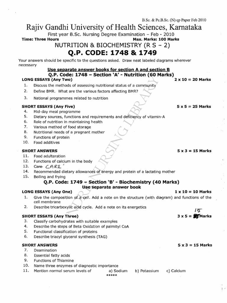 First year B.Sc. Nursing Question Paper 2010 | Common Carotid Artery ...