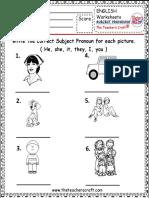 worksheet subject pronoun