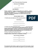 Articles of Partnership General Partnership