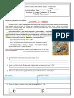 avaliação  de língua portuguesa 2 trimestre
