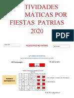ACTIVIDADES MATEMÁTICAS POR FIESTAS  PATRIAS 3ER-AÑO
