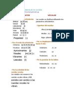 Clasificación articulatoria de los sonidos SEPTIMO
