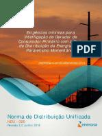 NDU 020 - Exigências Mín Interl Gerador Primário com a Red Dist Energisa com Paralelismo Momentaneo