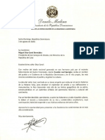 Carta de condolencias del presidente Danilo Medina a Miguel Díaz-Canel, presidente de la República de Cuba, por fallecimiento de Eusebio Leal Spengler