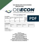 Prova da Primeira Fase com gabarito - OBECON-2020