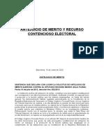 ANTEJUICIO DE MERITO Y RECURSO CONTENCIOSO ELECTORAL