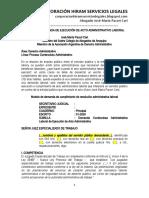 Modelo de Demanda de Ejecución de Acto Administrativo Laboral - Autor José María Pacori Cari