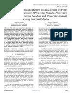 Spawn Production and Return on Investment of Four Varieties of Mushroom (Pleurotus Florida, Pleurotus Ostreatus, Ganoderma Lucidum and Calocybe Indica) Using Sawdust Media