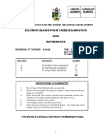 Form 3 mathematics exam 2008