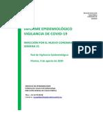Informe epidemiológico semanal de la Comunidad de Madrid - coronavirus - 4 agosto 2020