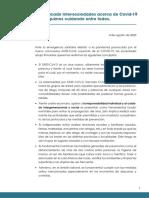 COVID 19  - Comunicado intersociedades 04-08-20