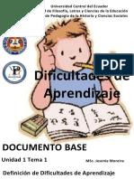 DOCUMENTO BASE DEFINIICION DIFICULTADES DE APRENDIZAJE