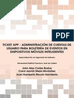 ADMINISTRACIÓN DE CUENTAS DE USUARIO PARA BOLETERÍA DE EVENTOS EN DISPOSITIVOS MÓVILES INTELIGENTES