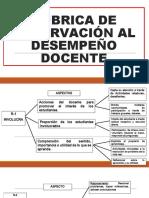 RÚBRICA DE OBSERVACIÓN AL DESEMPEÑO DOCENTE