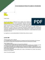 Formato Carta solicitud FDS a proveedores de productos químicos.