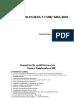 REQUERIMIENTO INFORMACION AUDITORIA FINANCIERA Y TRIBUTARIA SAC