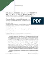 DEL ECOLOGISMO COMO MOVIMIENTO SOCIAL A LA EDUCACIÓN AMBIENTAL COMO CONSTRUCCIÓN HISTÓRICA